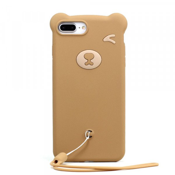 Wholesale iPhone 8 Plus / 7 Plus 3D Teddy Bear Design Case with Hand Strap (Brown)