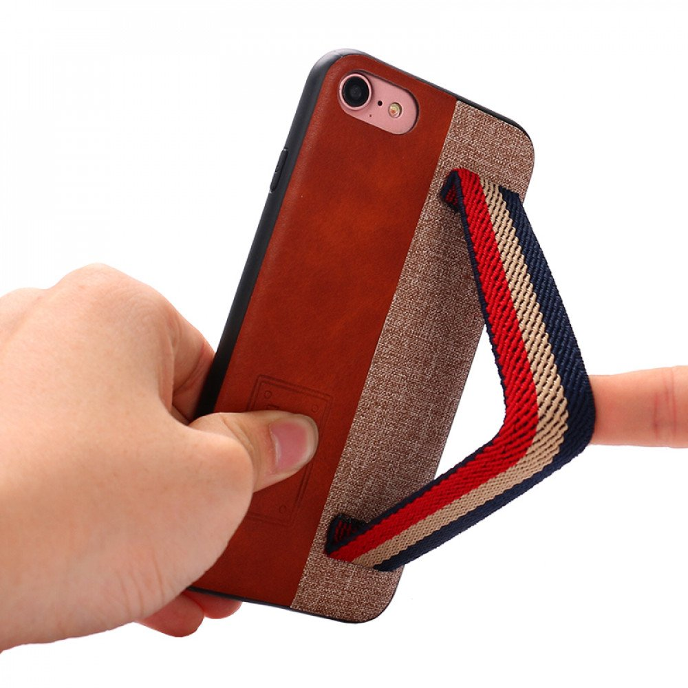 Wholesale iPhone 8 / 7 Striped Hand Strap Grip Holder PU Leather Case (Gray)