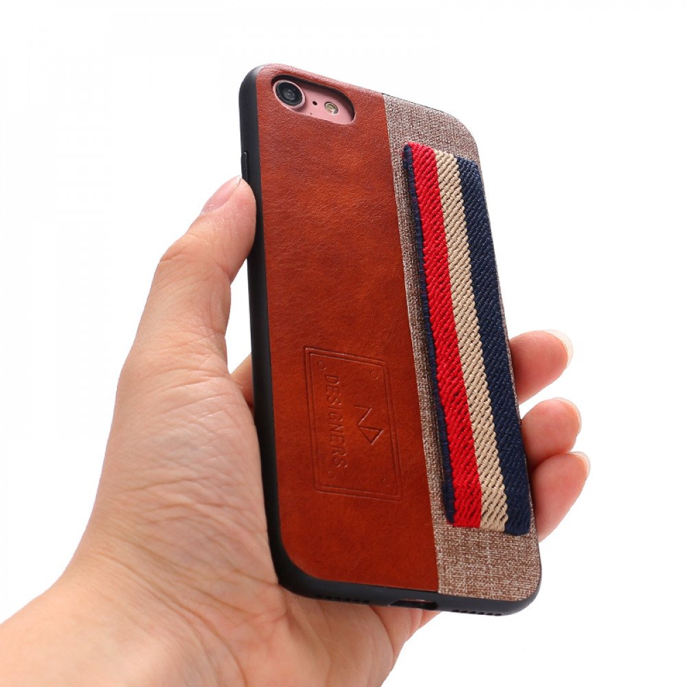 huge discount 88f24 dff7f Wholesale iPhone 8 Plus / 7 Plus Striped Hand Strap Grip Holder PU ...