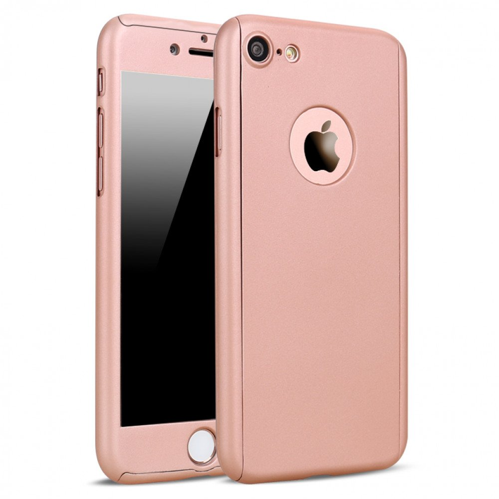 wholesale iphone 7 plus full cover hybrid case with tempered glass rose gold