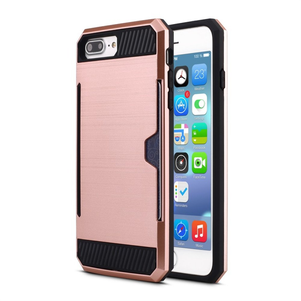 free shipping 787d3 b33b1 Wholesale iPhone 7 Credit Card Armor Hybrid Case (Rose Gold)