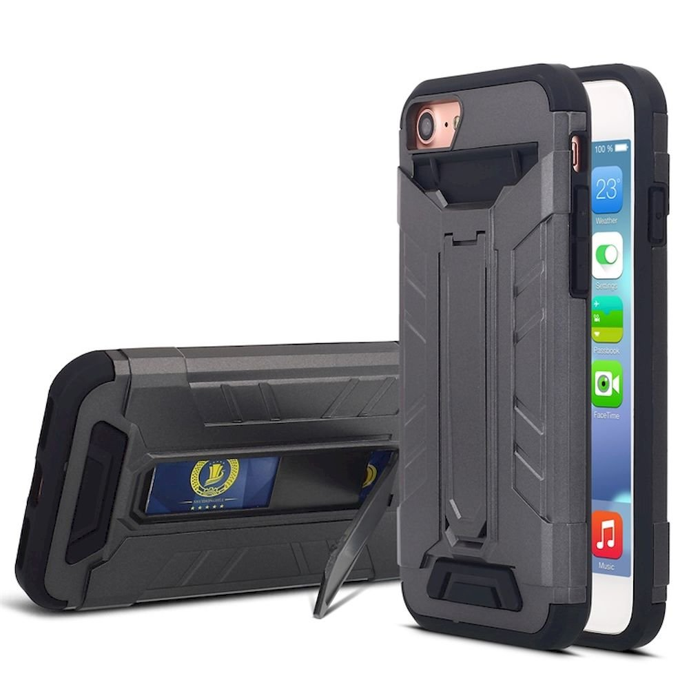 Wholesale iPhone 7 Plus Card Slot Hybrid Case with Stand