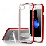Apple iPhone 8 Plus / 7 Plus Clear Armor Bumper Kickstand Case (Red)
