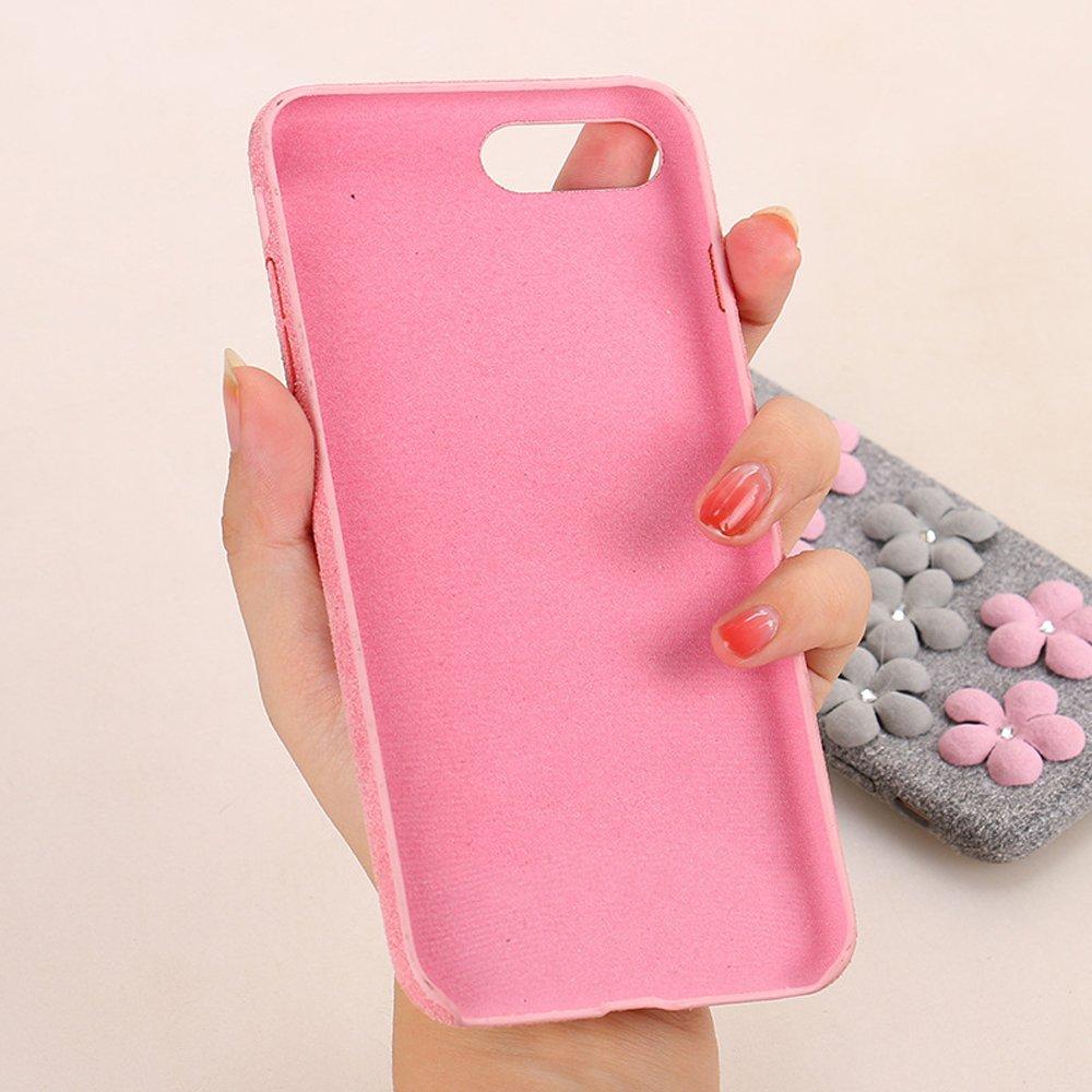 wholesale iphone 7 plus jewel flower fuzzy plush case hot pink. Black Bedroom Furniture Sets. Home Design Ideas