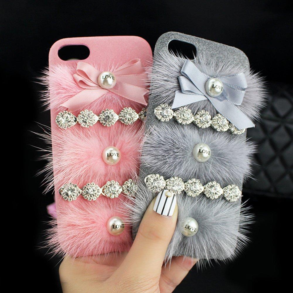 online store 88c42 40a35 Wholesale iPhone 7 Plus Love Jewel Fur Fuzzy Plush Case (Gray)