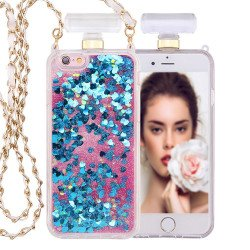 iPhone 6S / 6 Perfume Bottle Glitter Shake Star Dust Necklace Case (Blue)