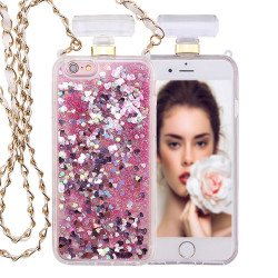 iPhone 6S / 6 Perfume Bottle Glitter Shake Star Dust Necklace Case (Hot Pink)
