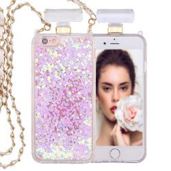 iPhone 6S / 6 Perfume Bottle Glitter Shake Star Dust Necklace Case (White)