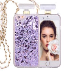 iPhone 6S / 6 Perfume Bottle Glitter Shake Star Dust Necklace Case (Purple)