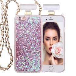 iPhone 6S / 6 Perfume Bottle Glitter Shake Star Dust Necklace Case (Pink)