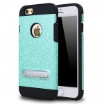 Wholesale iPhone 7 Pixel Armor Hybrid Kickstand Case (Green)