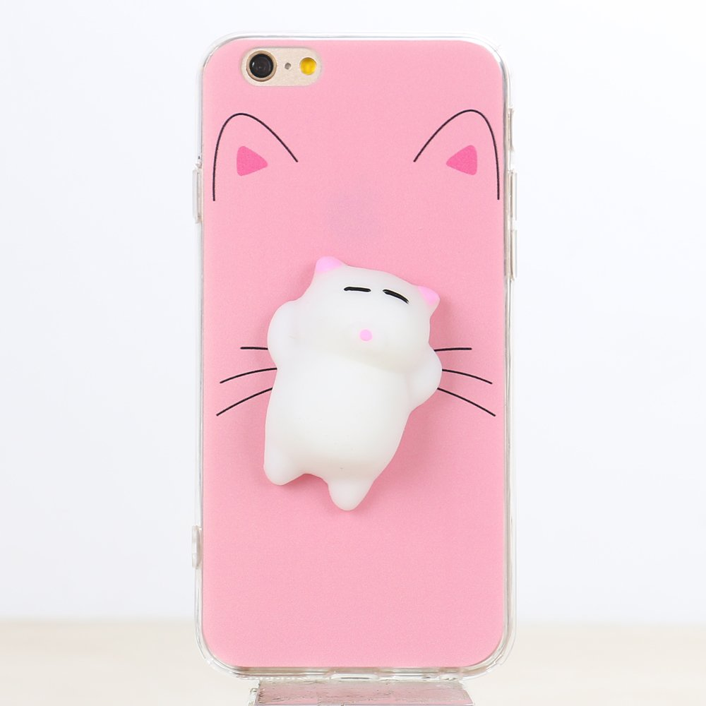 Wholesale iPhone 7 3D Poke Squishy Plush Silicone Soft Case (Cat)