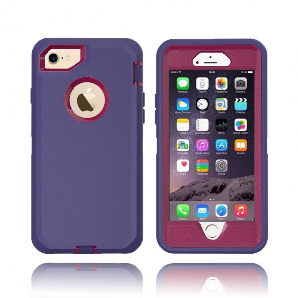 Wholesale iPhone 8 / 7 / 6S / 6 Premium Armor Defender Case (Purple HotPink)