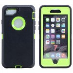 Wholesale iPhone 8 / 7 / 6S / 6 Premium Armor Defender Case with Clip (Black-Green + Clip)