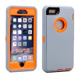 iPhone 8 Plus / 7 Plus / 6S / 6 Plus Premium Armor Defender Case (Gray Orange)