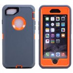 Wholesale iPhone 8 Plus / 7 Plus / 6S / 6 Plus Premium Armor Defender Case with Clip (Gray-Orange + Clip)