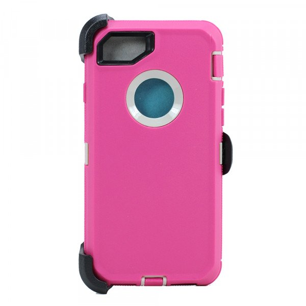 Wholesale iPhone 8 / 7 / 6S / 6 Premium Armor Defender Case with Clip (Hot Pink-white + Clip)