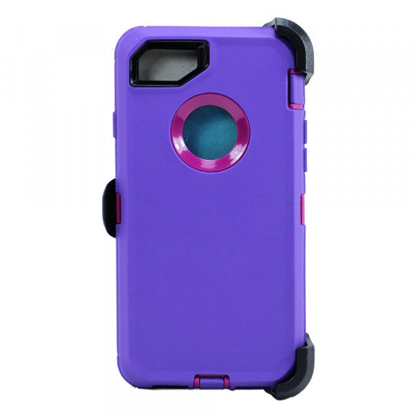 Wholesale iPhone 8 / 7 / 6S / 6 Premium Armor Defender Case with Clip (Purple Hot Pink + Clip)