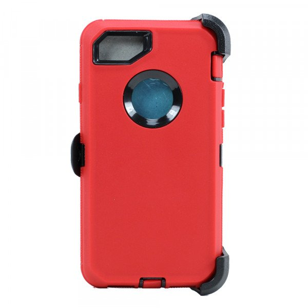Wholesale iPhone 8 / 7 / 6S / 6 Premium Armor Defender Case with Clip (Red-Black + Clip)