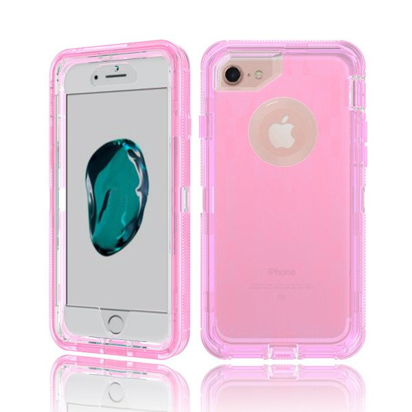 Wholesale iPhone 8 / 7 / 6S / 6 Transparent Armor Defender Case (Pink)