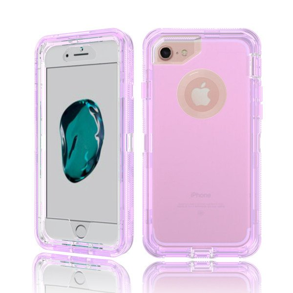 Wholesale iPhone 8 / 7 / 6S / 6 Transparent Armor Defender Case (Purple)