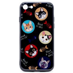 iPhone 8 Plus / 7 Plus Design Tempered Glass Hybrid Case (Cute Cat)