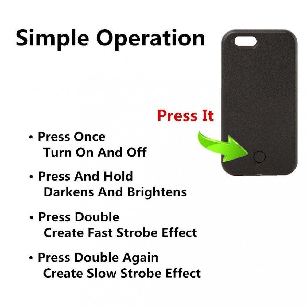 Wholesale Iphone 6s Plus 6 Selfie Illuminated Led Case Light Black
