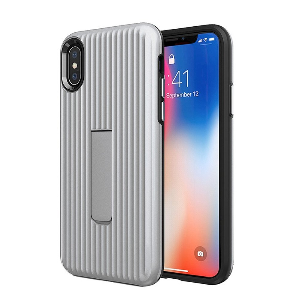 separation shoes ef7c5 351e9 Wholesale Apple iPhone XS / X Cabin Carbon Style Stand Case (Silver)