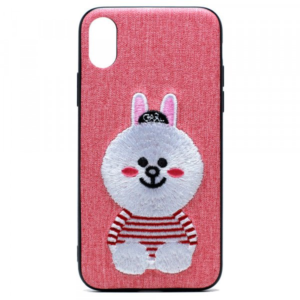 Wholesale iPhone X (Ten) Design Cloth Stitch Hybrid Case (Pink Bunny)