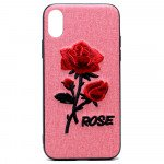 Wholesale iPhone X (Ten) Design Cloth Stitch Hybrid Case (Pink Rose)