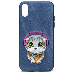 iPhone X (Ten) Design Cloth Stitch Hybrid Case (Blue Cat)