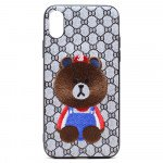 Wholesale iPhone X (Ten) Design Cloth Stitch Hybrid Case (Brown Teddy Bear)