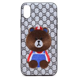 iPhone X (Ten) Design Cloth Stitch Hybrid Case (Brown Teddy Bear)