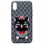 Wholesale iPhone X (Ten) Design Cloth Stitch Hybrid Case (Gray Kitten Cat)