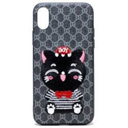 iPhone X (Ten) Design Cloth Stitch Hybrid Case (Gray Kitten Cat)