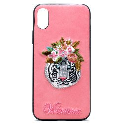 iPhone X (Ten) Design Cloth Stitch Hybrid Case (Pink Tiger)