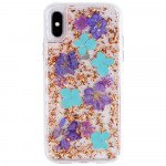 Wholesale iPhone Xr 6.1in Luxury Glitter Dried Natural Flower Petal Clear Hybrid Case (Bronze Blue)
