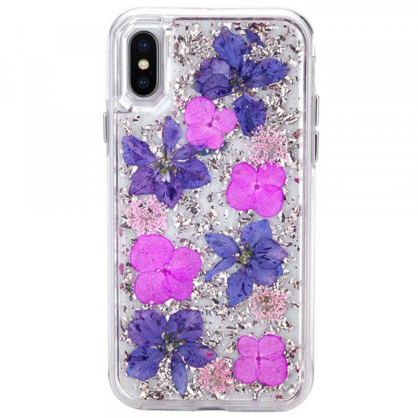Wholesale iPhone Xs Max Luxury Glitter Dried Natural Flower Petal Clear Hybrid Case (Rose Gold Purple)