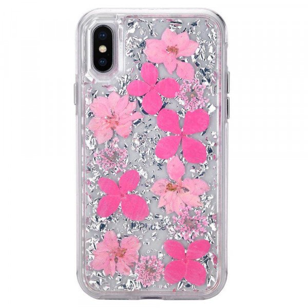Wholesale iPhone Xr 6.1in Luxury Glitter Dried Natural Flower Petal Clear Hybrid Case (Silver Pink)