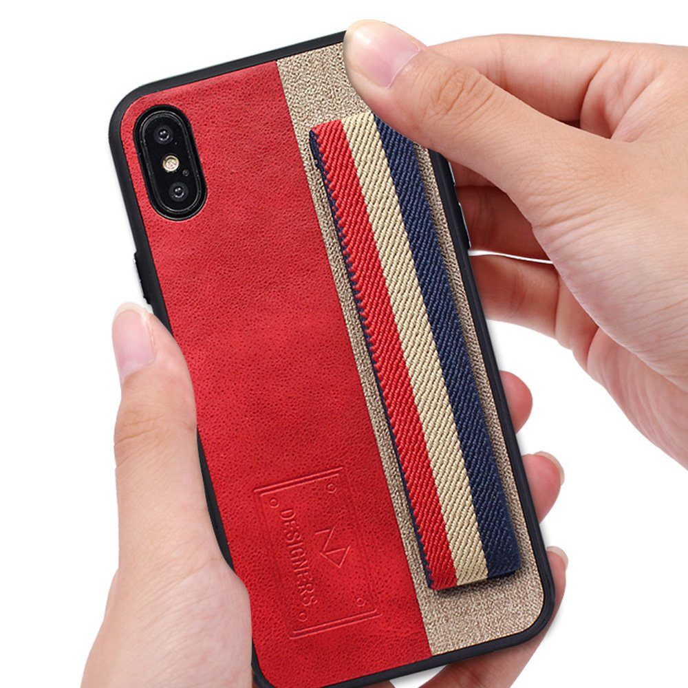 Wholesale iPhone X (Ten) Striped Hand Strap Grip Holder PU Leather Case (Brown)