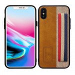 iPhone X (Ten) Striped Hand Strap Grip Holder PU Leather Case (Brown)