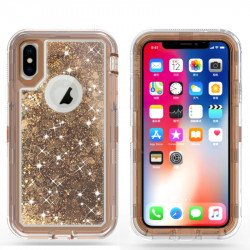 iPhone XS / X Star Dust Clear Liquid Armor Defender Case (Bronze Gold)