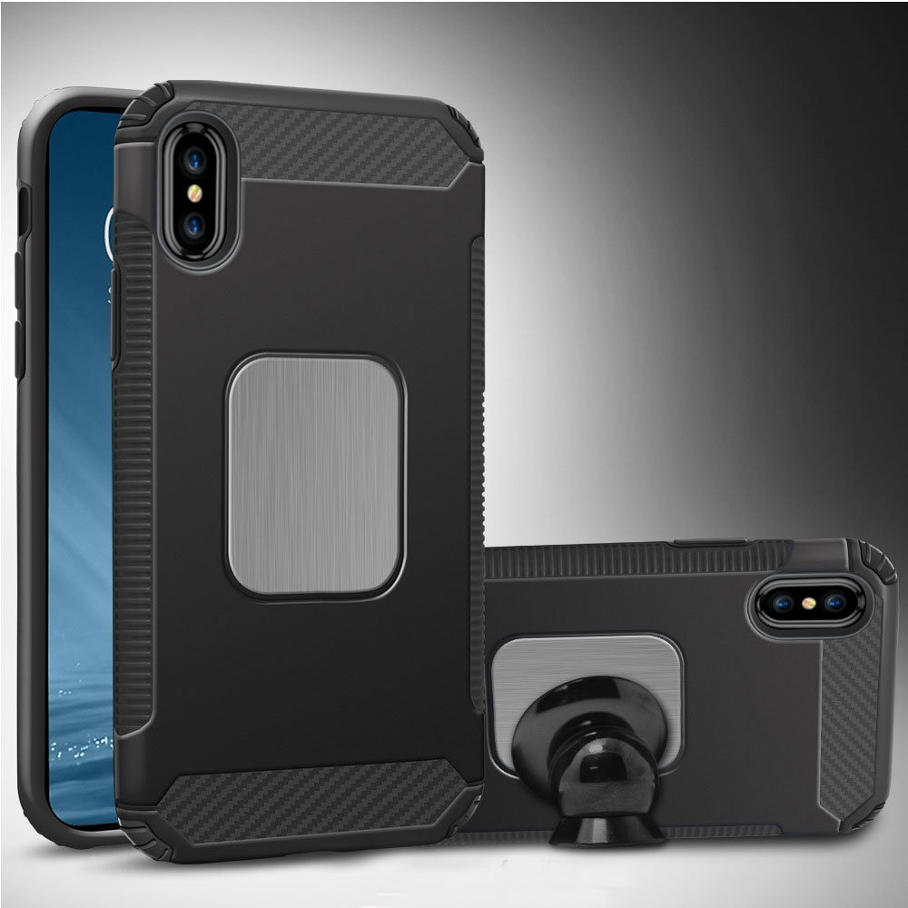 Wholesale Iphone X Ten Metal Plate Hybrid Case For