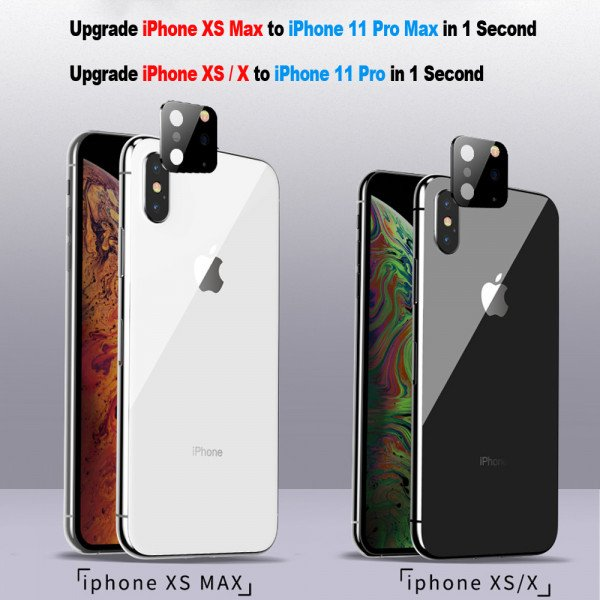 Wholesale Upgrade Camera Lens Tempered Glass for iPhone XS Max / iPhone XS/X to iPhone 11 Pro Max / iPhone 11 Pro (Black)