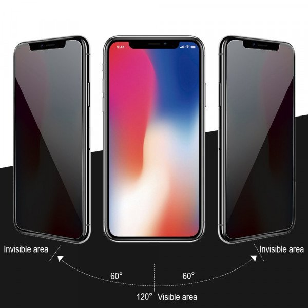 Wholesale iPhone Xs Max Privacy Anti-Spy Full Cover Tempered Glass Screen Protector (Black)