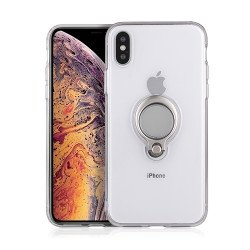 iPhone Xr 6.1in Ring Stand Transparent Case with Metal Plate (Clear)