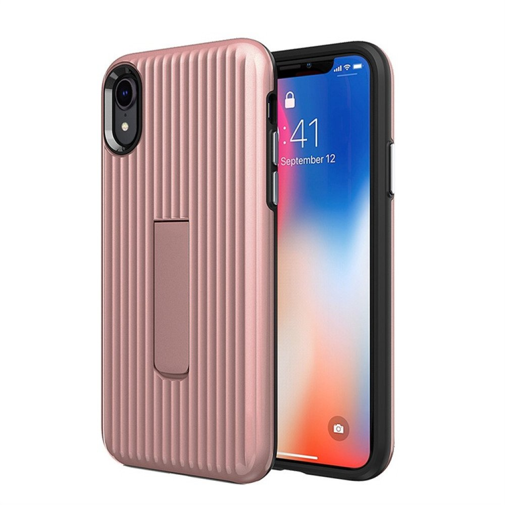 Wholesale Iphone Xs Max Cabin Carbon Style Stand Case Rose Gold