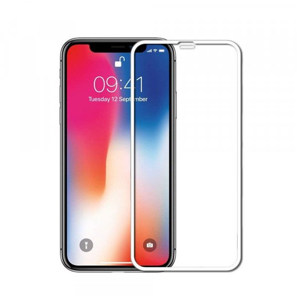 Wholesale iPhone Xr 6.1in 5D Tempered Glass Full Screen Protector (5D Glass White)