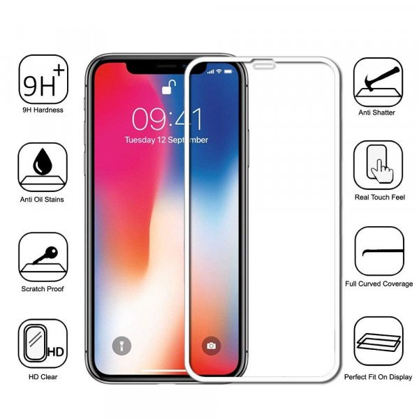 Wholesale iPhone Xs Max 5D Tempered Glass Full Screen Protector (5D Glass White)