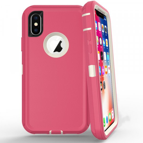 Wholesale iPhone Xs Max Armor Defender Case (Hot Pink White)
